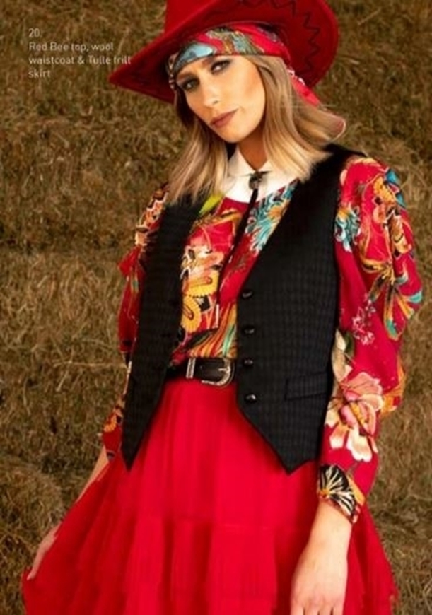 Picture of Sheryl May - Red Bee Print Top